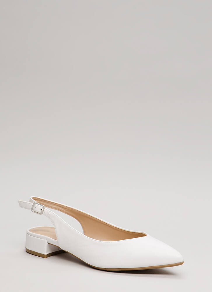 Bring Slingback Back Pointy Block Heels WHITE