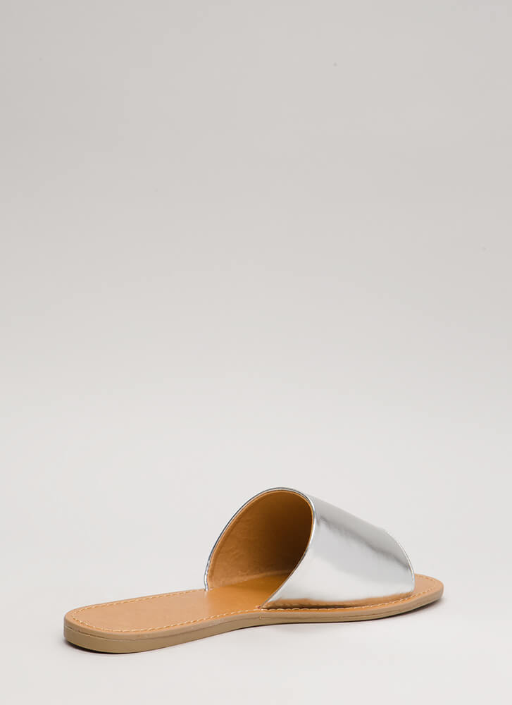 Slip And Slide Faux Leather Sandals SILVER