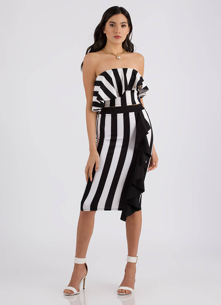 Night Out Striped Two-Piece Ruffle Dress BLACKWHITE