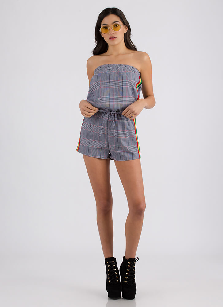 Plaid Company Strapless Striped Romper NAVY