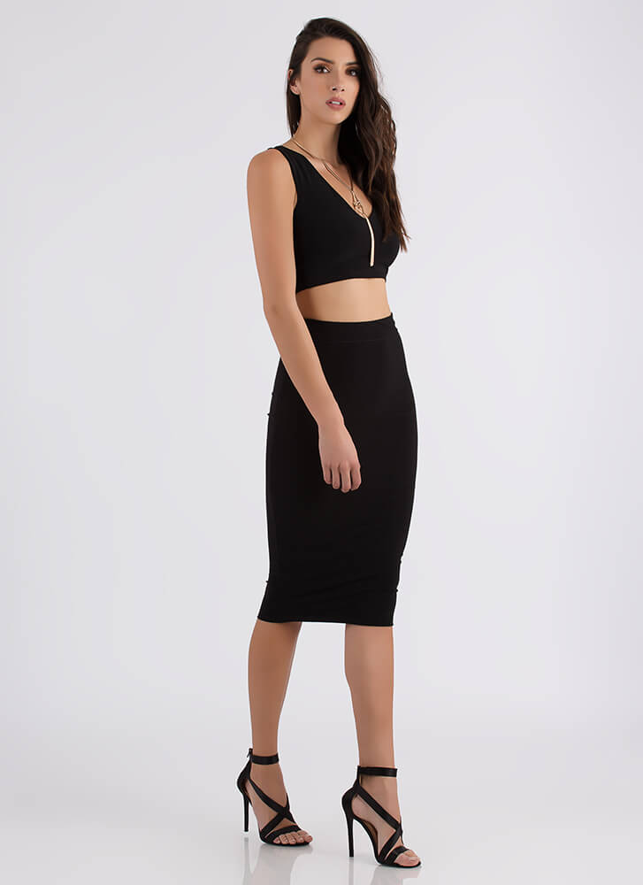Two Become One Crop Top And Skirt Set BLACK (Final Sale)