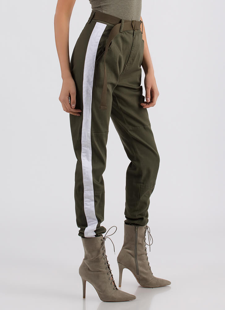 Notch On My Belt Striped Jogger Pants OLIVE