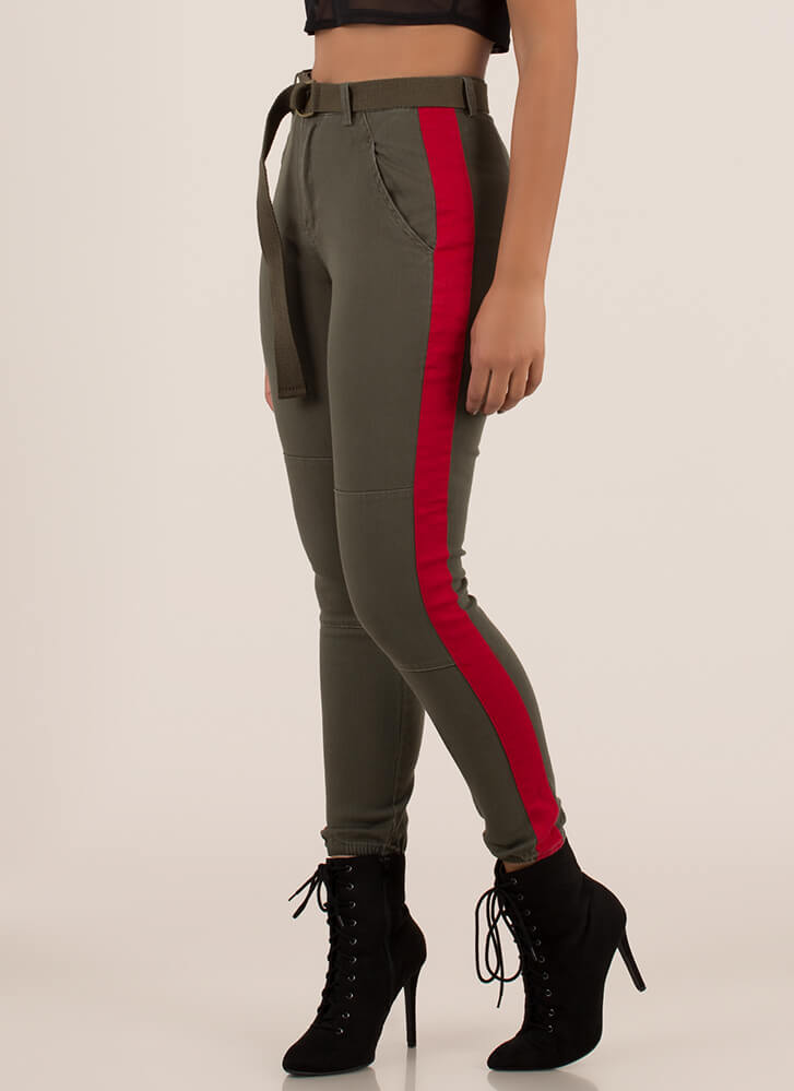 Notch On My Belt Striped Jogger Pants OLIVERED
