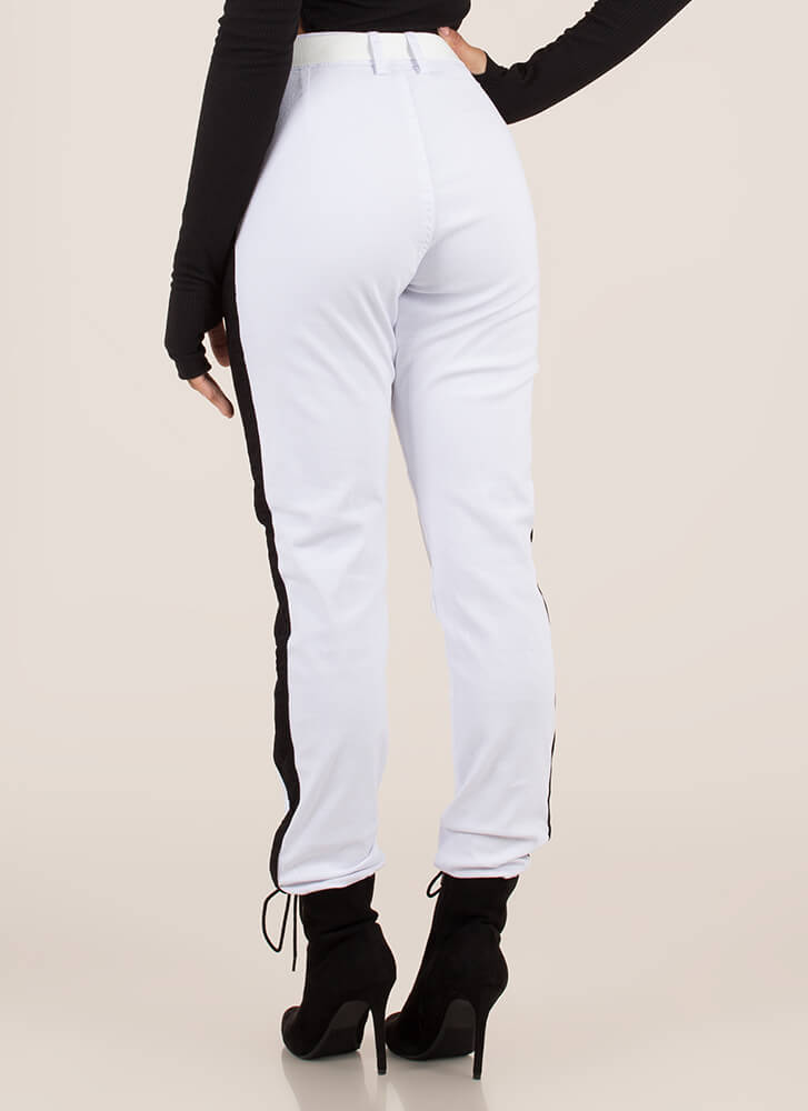 Notch On My Belt Striped Jogger Pants WHITE