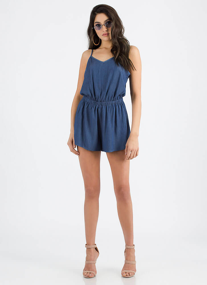 One For The Money Chambray Romper MEDBLUE