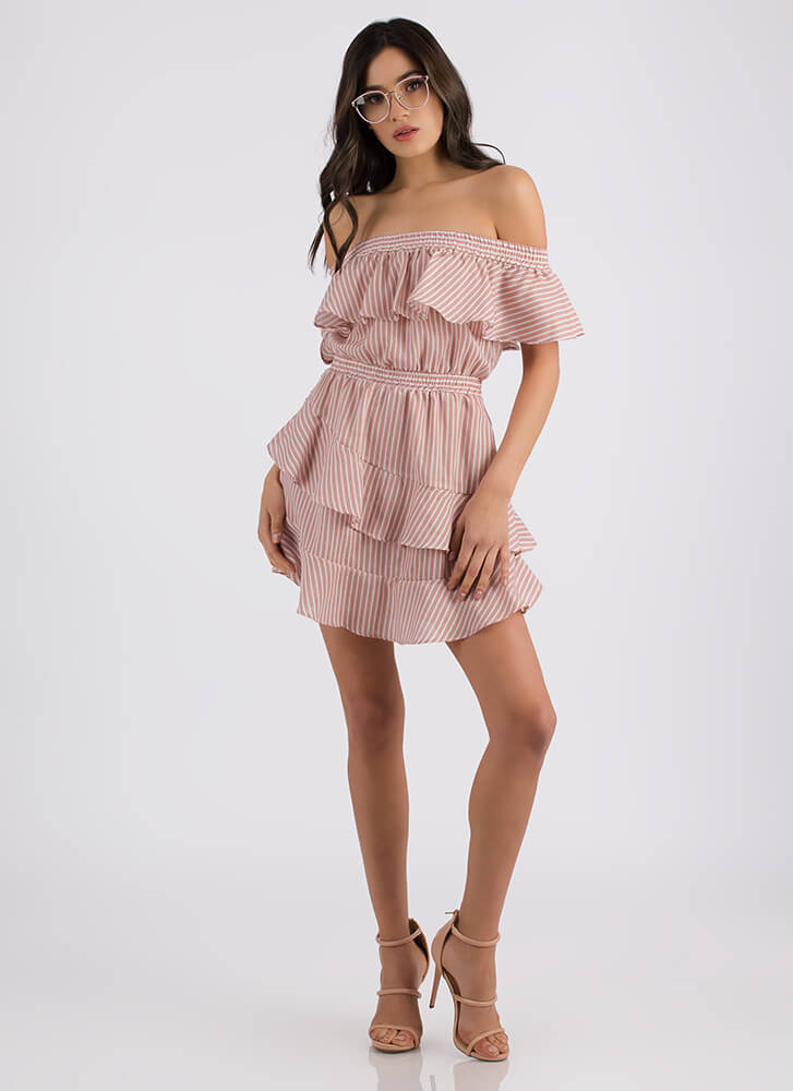 Such A Sweetie Striped Ruffled Dress BLUSH (Final Sale)