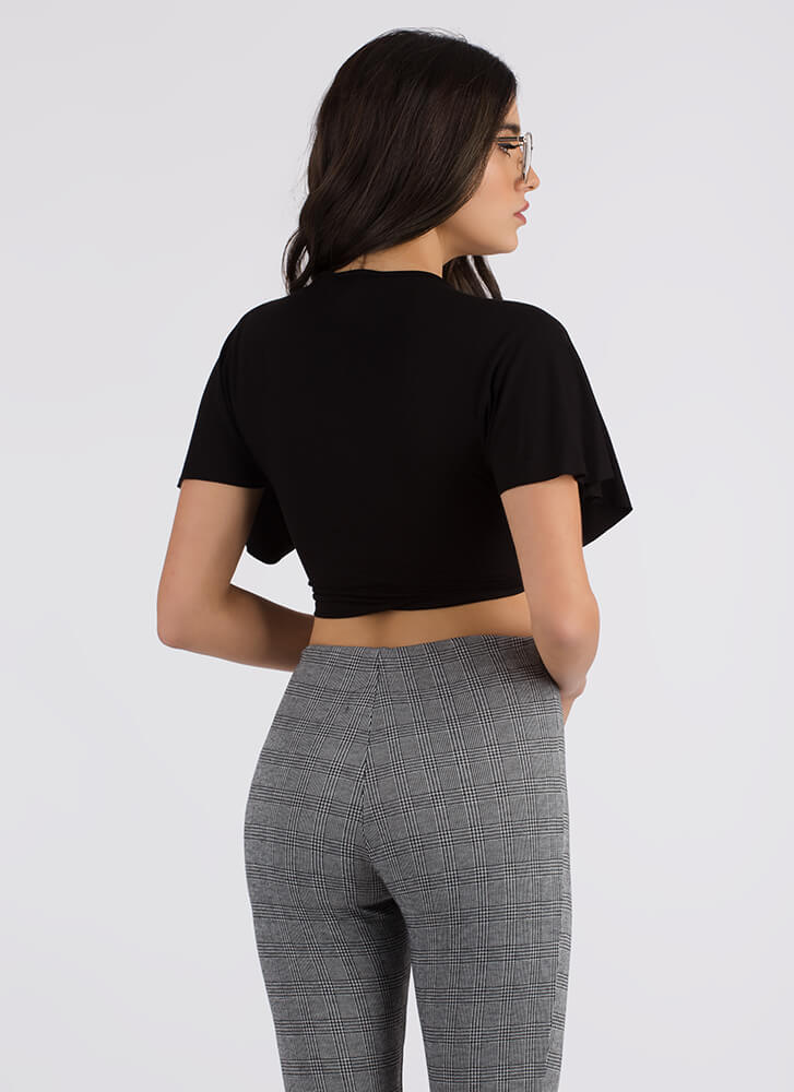Shocking Twist Knotted Crop Top BLACK