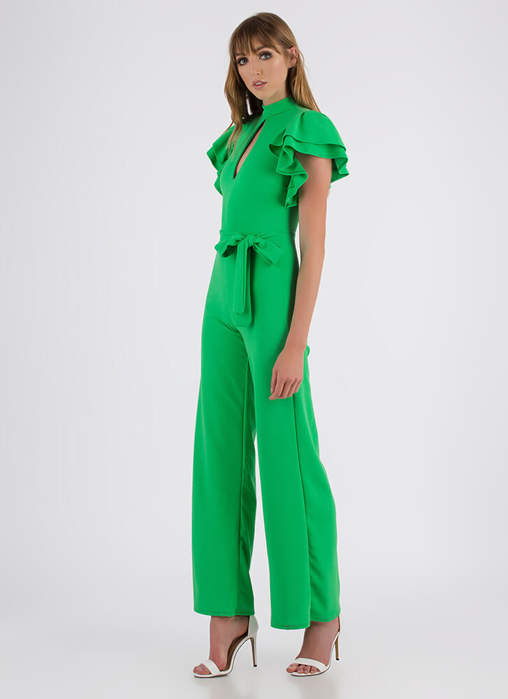 Party Favor Ruffled Cut-Out Jumpsuit KELLYGREEN