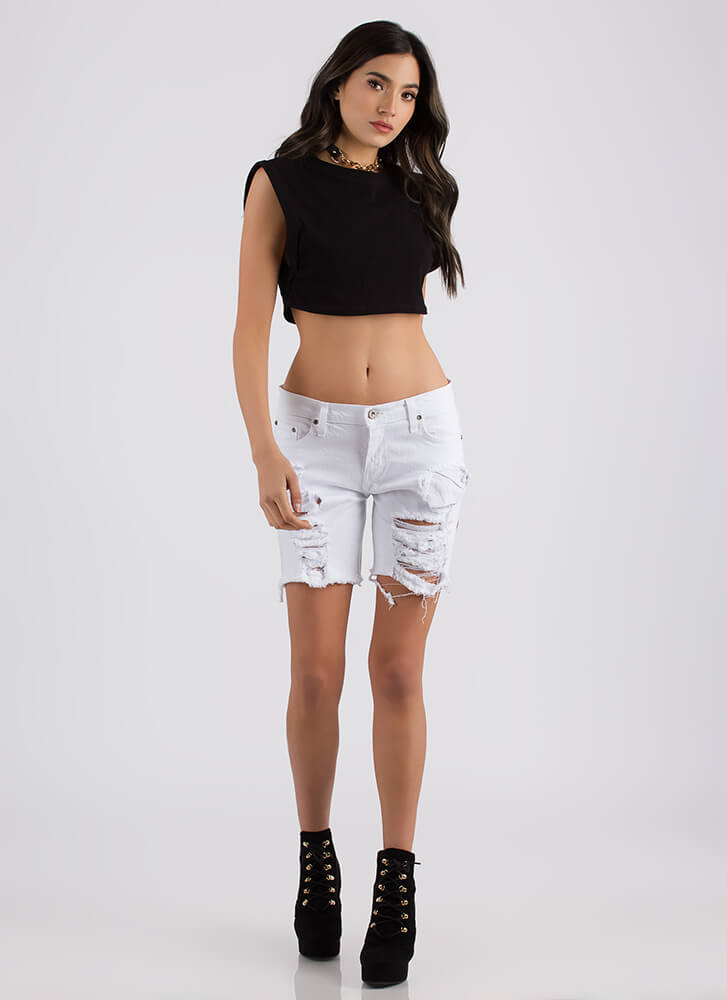 Flex Your Muscle Cropped Tank Top BLACK