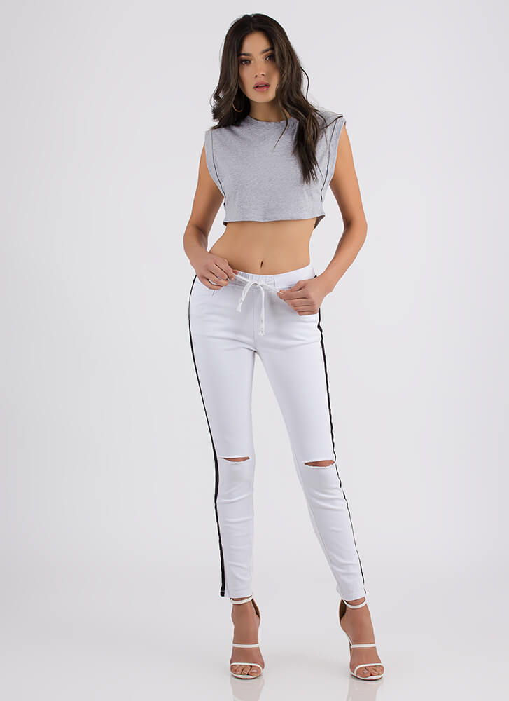 Flex Your Muscle Cropped Tank Top HGREY