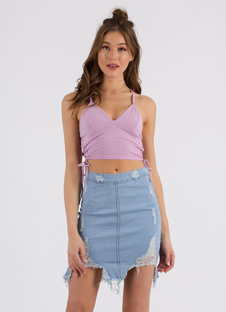 Taking Sides Lace-Up Cropped Tank LAVENDER