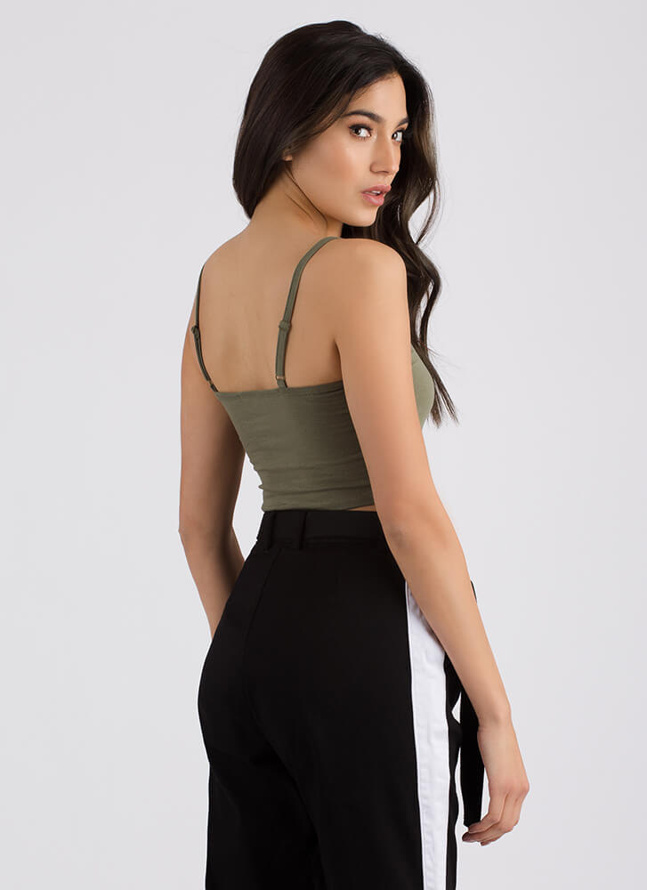 Totally Hooked Cropped Tank Top ARMY