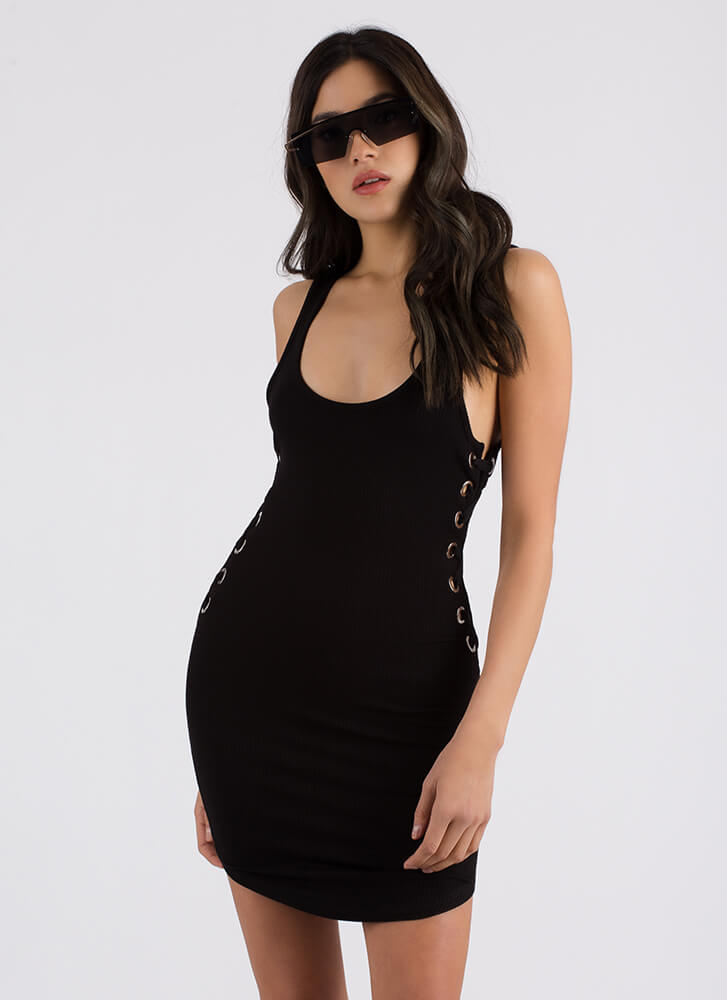 Side Piece Ribbed Lace-Up Minidress BLACK