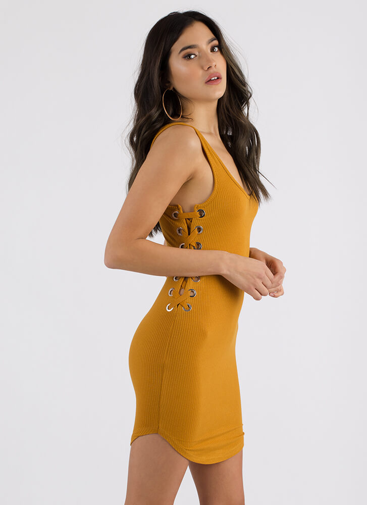 Side Piece Ribbed Lace-Up Minidress MUSTARD