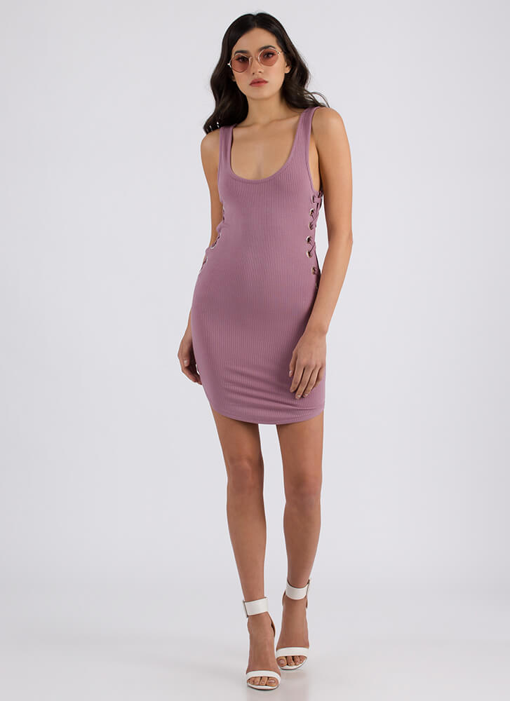 Side Piece Ribbed Lace-Up Minidress ORCHID