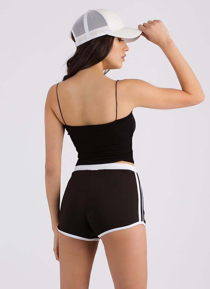 On The Right Track Sporty Striped Shorts BLACK
