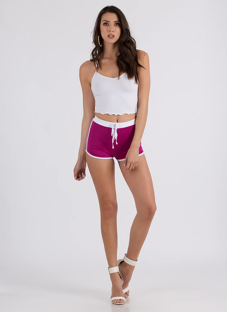 On The Right Track Sporty Striped Shorts MAGENTA
