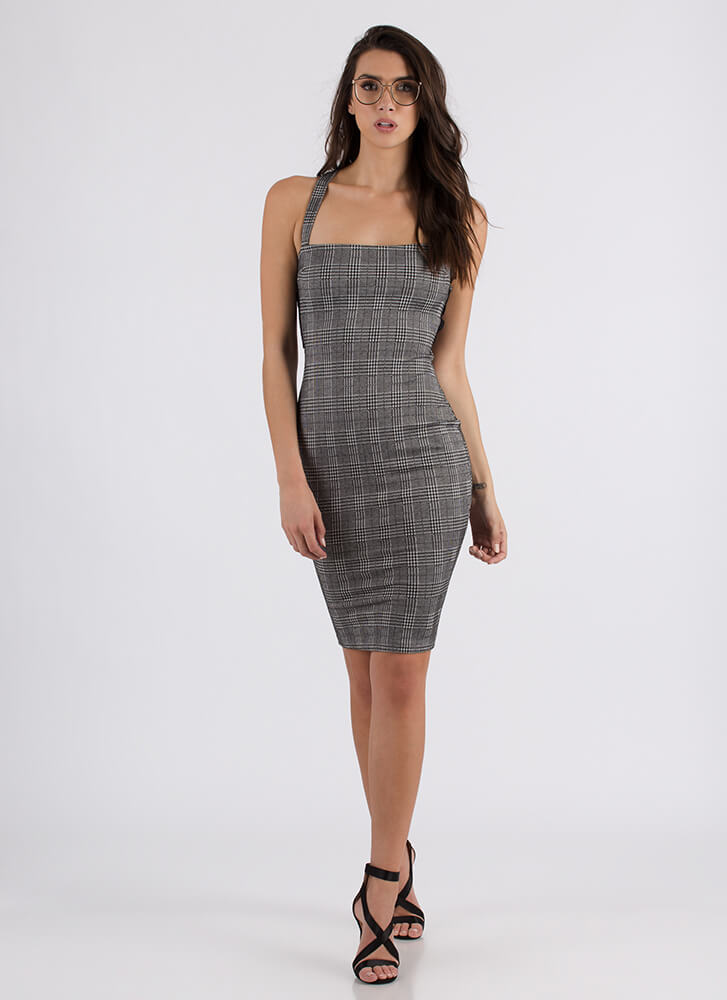 Plaid To The Bone Lace-Back Dress GREY (Final Sale)