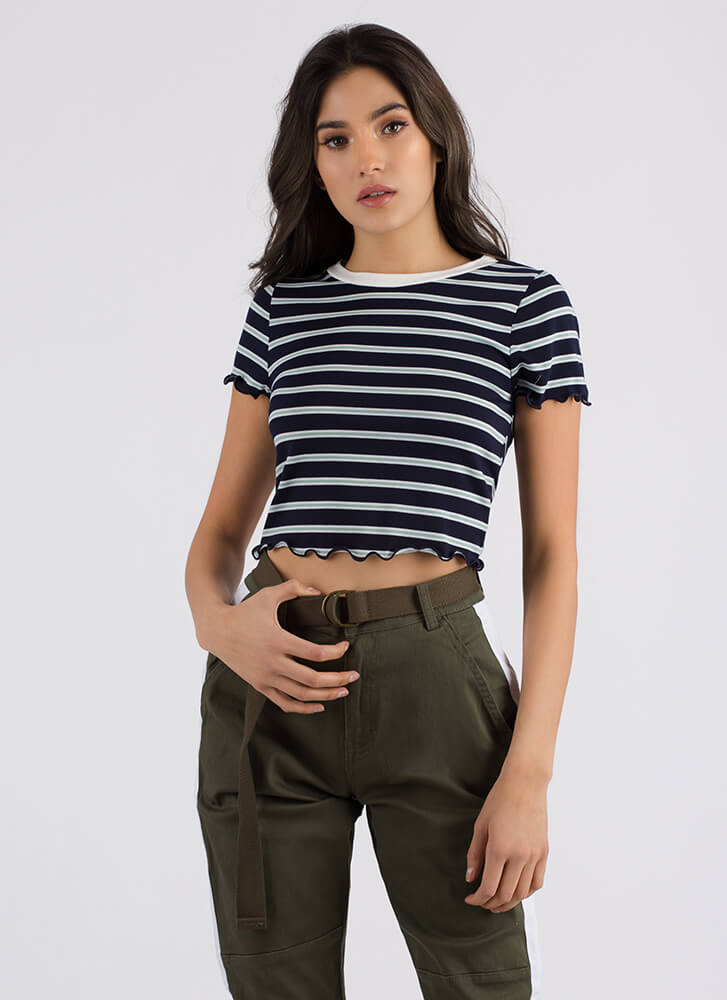 Saturday Striped Lettuce Hem Top NAVY