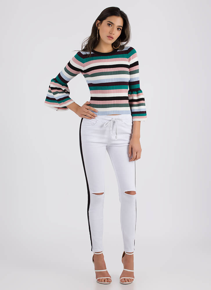 For The Bell Of It Striped Sweater Top PINK