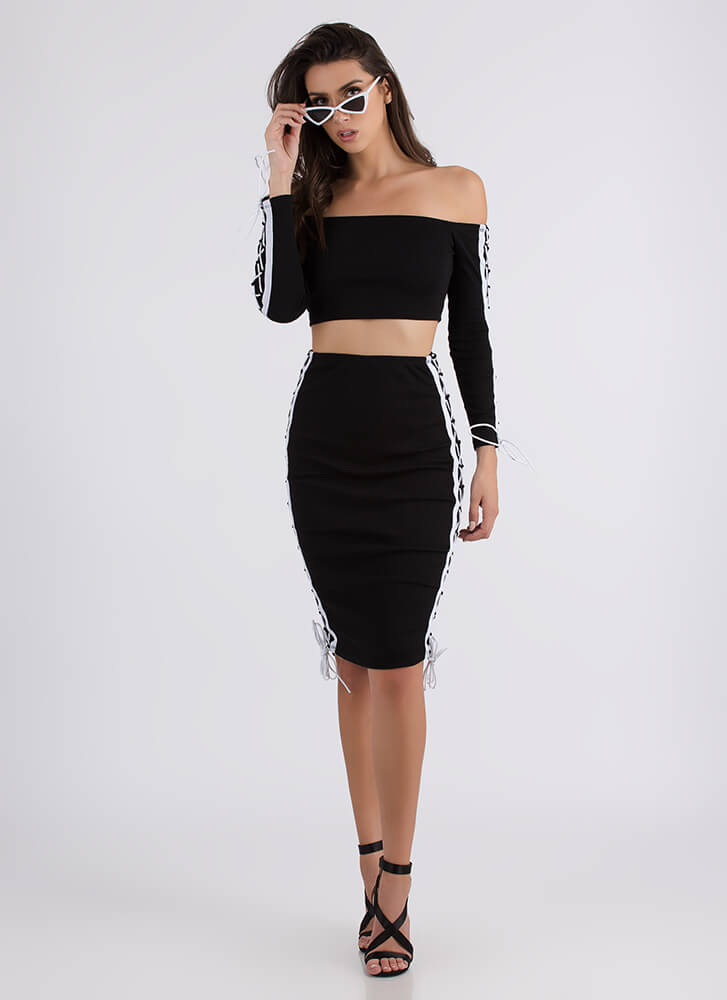Lace To The Finish Top And Skirt Set BLACK