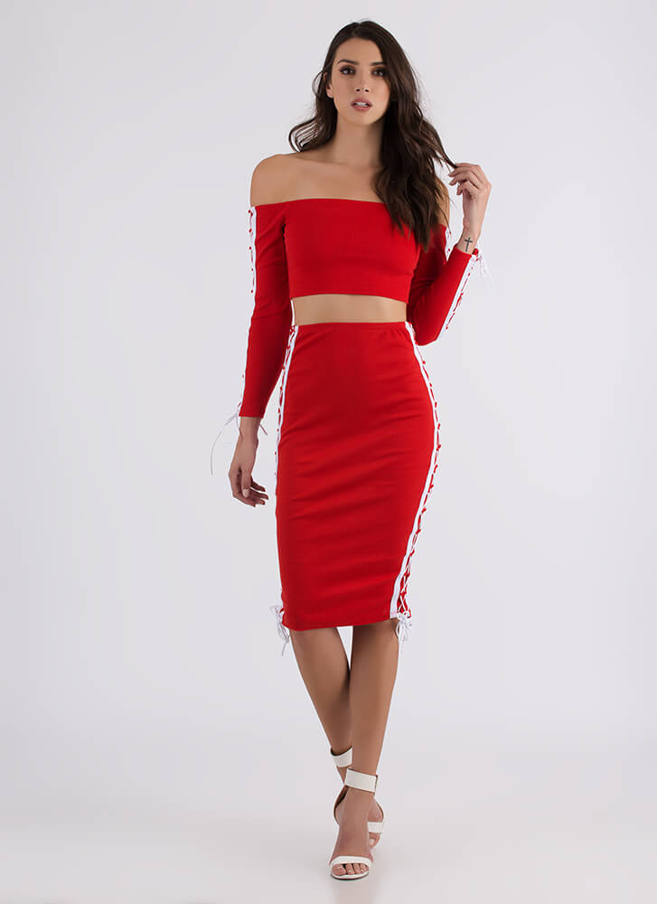 Lace To The Finish Top And Skirt Set RED
