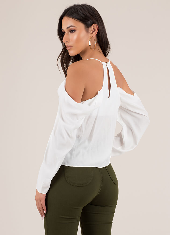 Cowl Girl Draped Cold-Shoulder Top IVORY