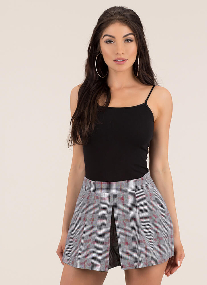 Pleats And Thank You Plaid Print Skort REDBLACK