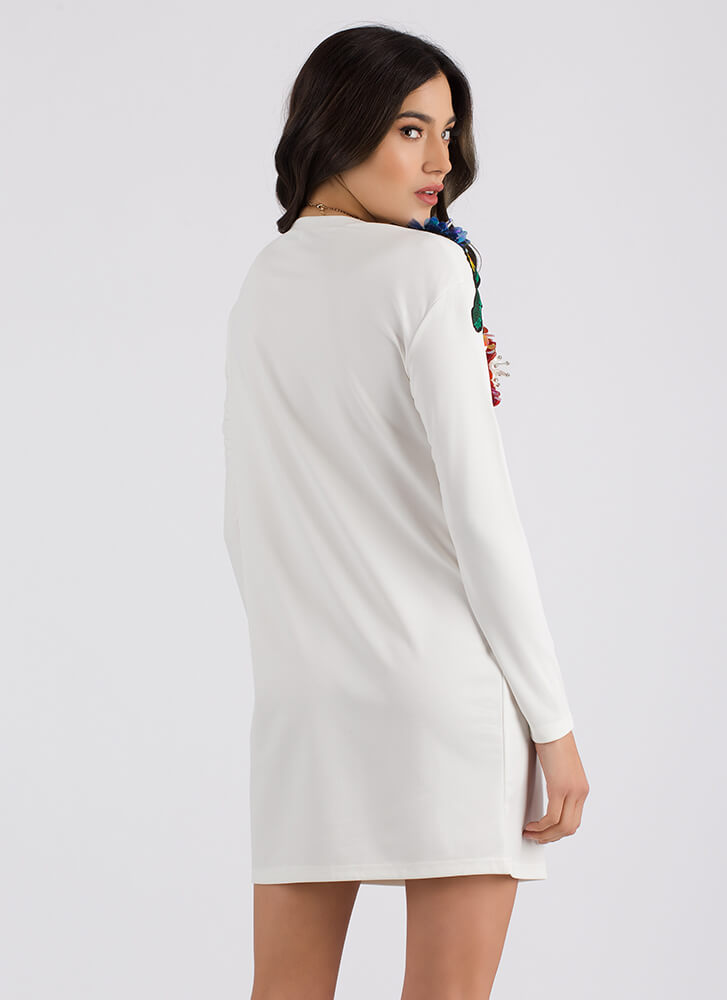 Fresh Floral Embroidered Shirt Dress WHITE (Final Sale)