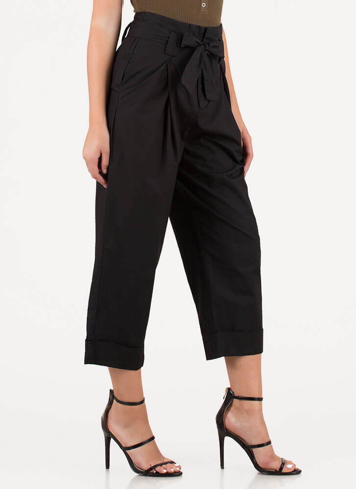 Smarty Pants Cropped Wide-leg Trousers BLACK