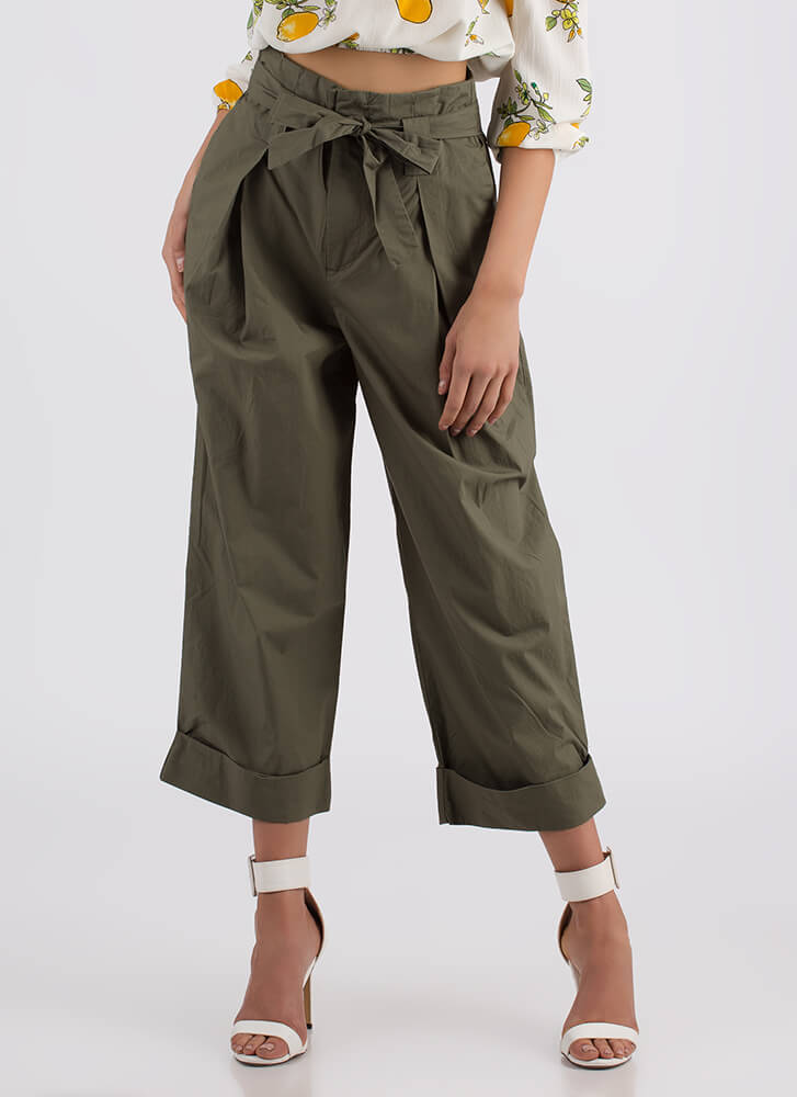 Smarty Pants Cropped Wide-leg Trousers OLIVE