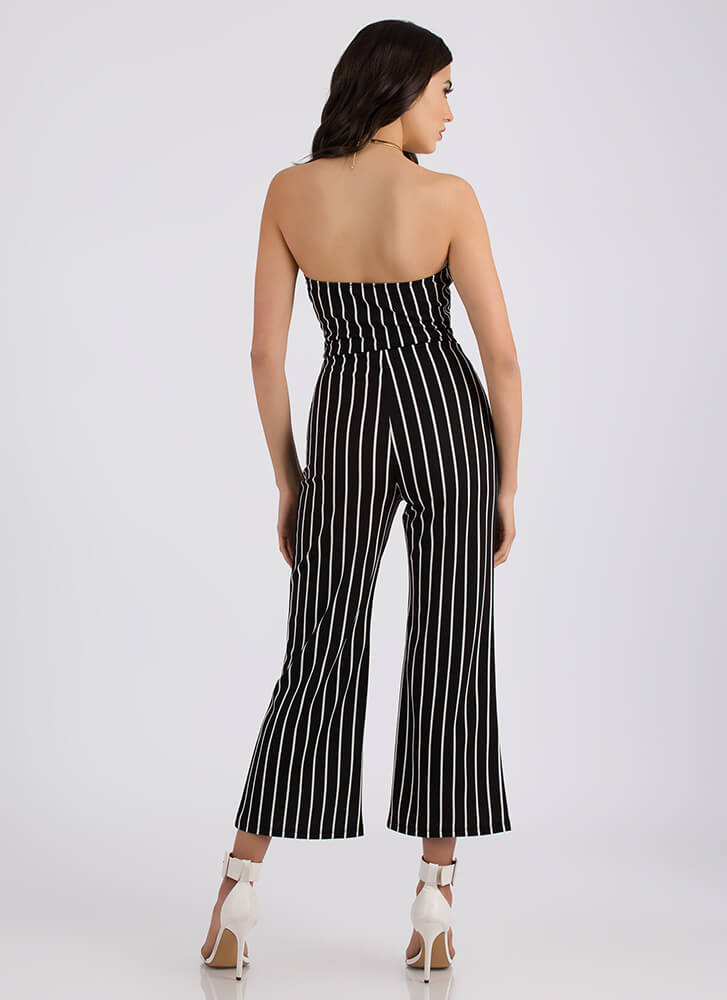 Pretty In Pinstripes Top And Pant Set BLACK
