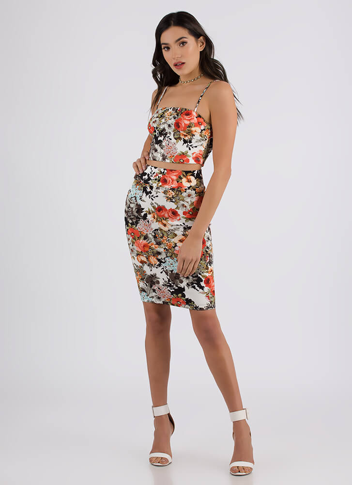 Floral Fragrance Crop Top And Skirt Set MULTI