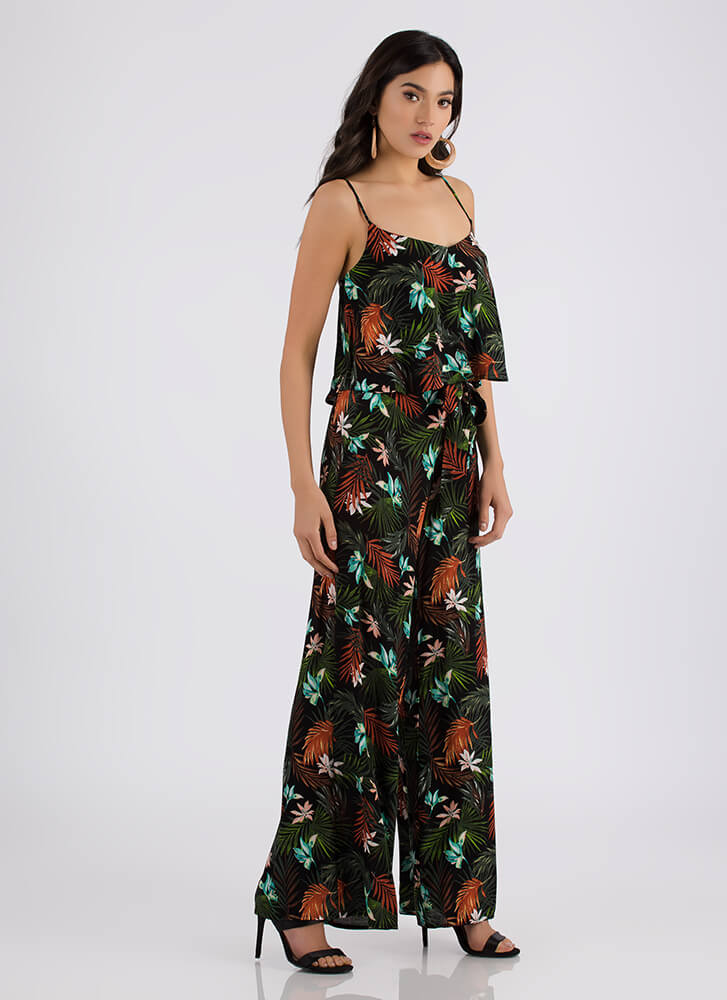 Tropical Forest Two-Piece Palazzo Set BLACK