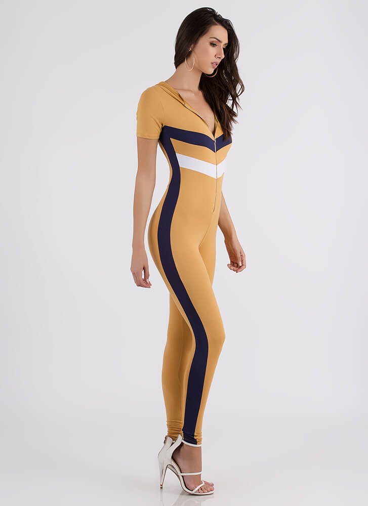 Finish Line Striped Zip-Front Jumpsuit MUSTARD