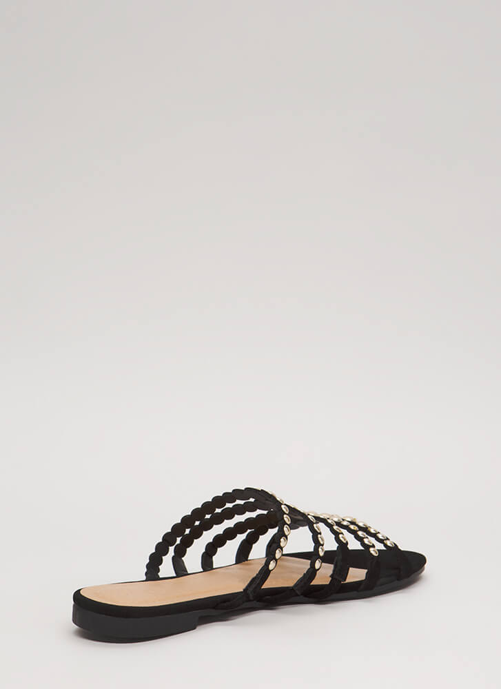 Private Cabana Studded Caged Sandals BLACK