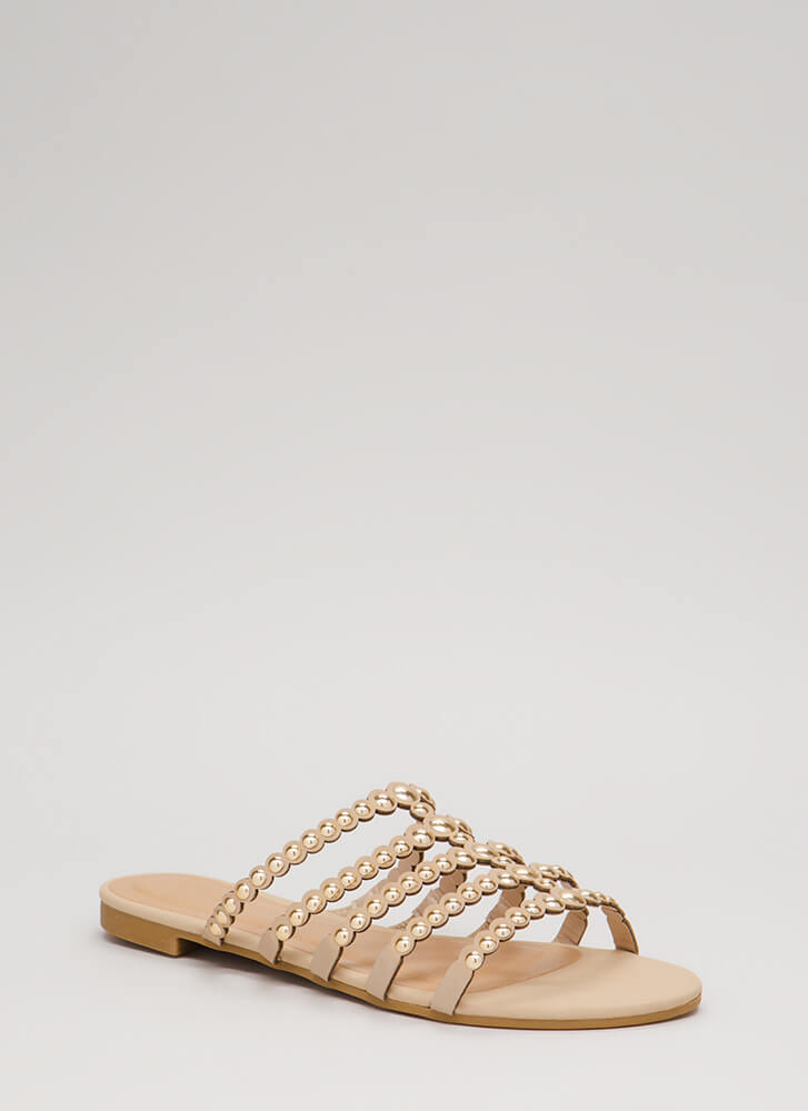 Private Cabana Studded Caged Sandals NUDE