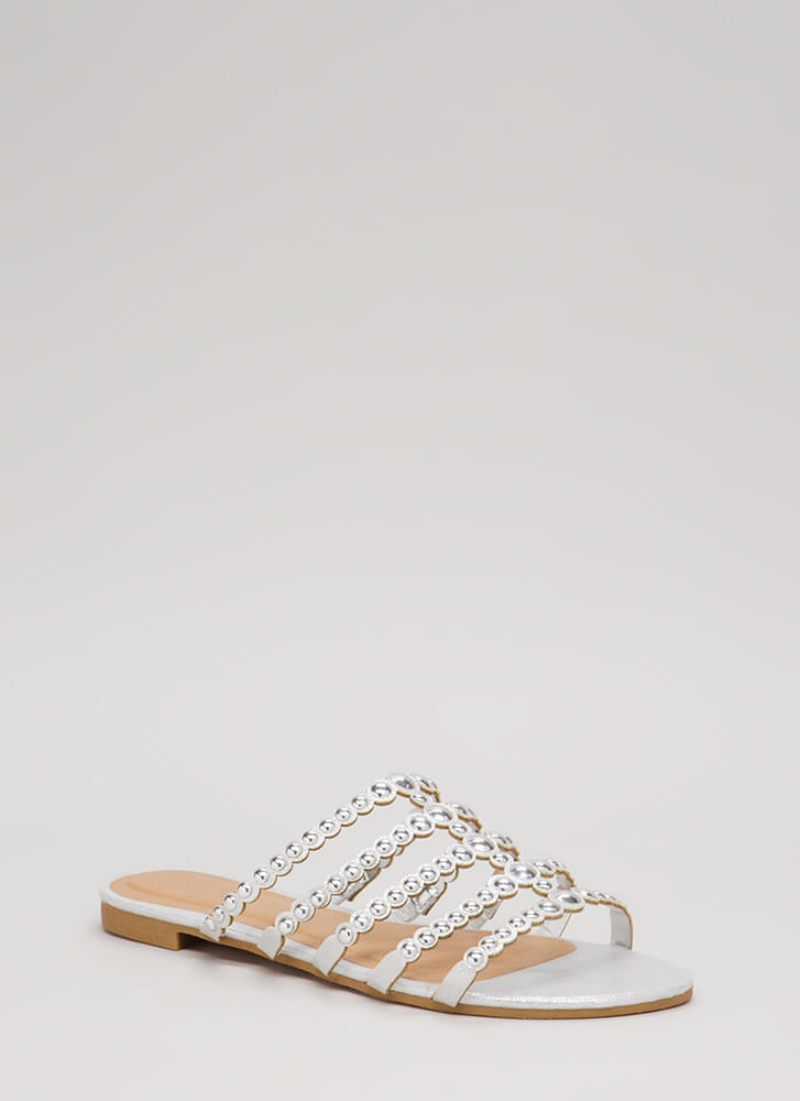 Private Cabana Glittery Studded Sandals SILVER