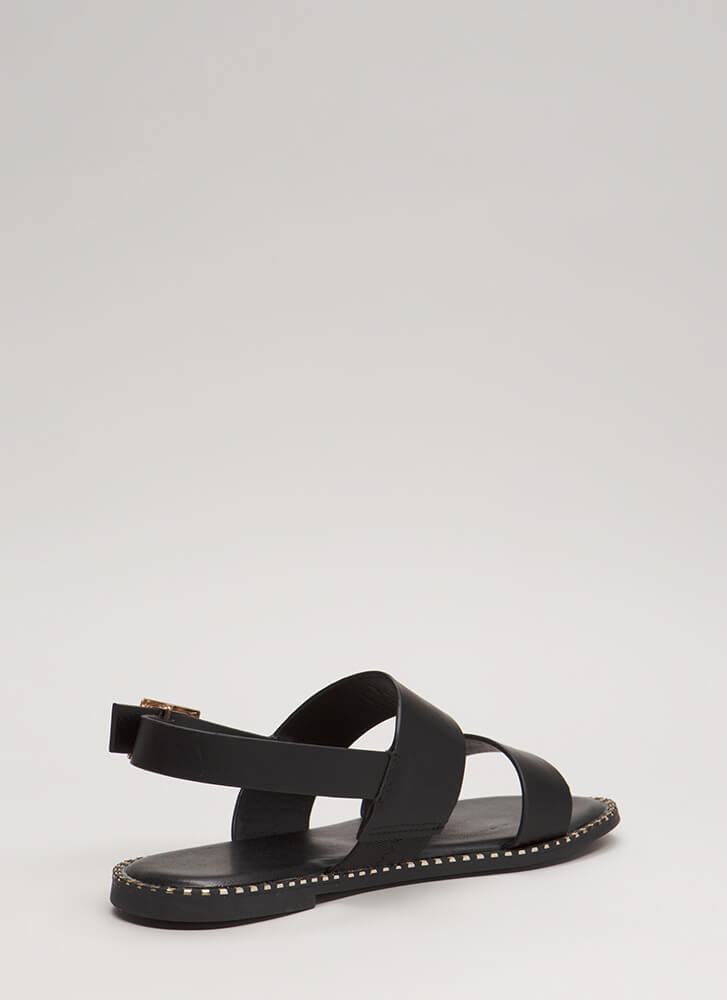 Minimal Aesthetic Metallic Trim Sandals BLACK (You Saved $12)