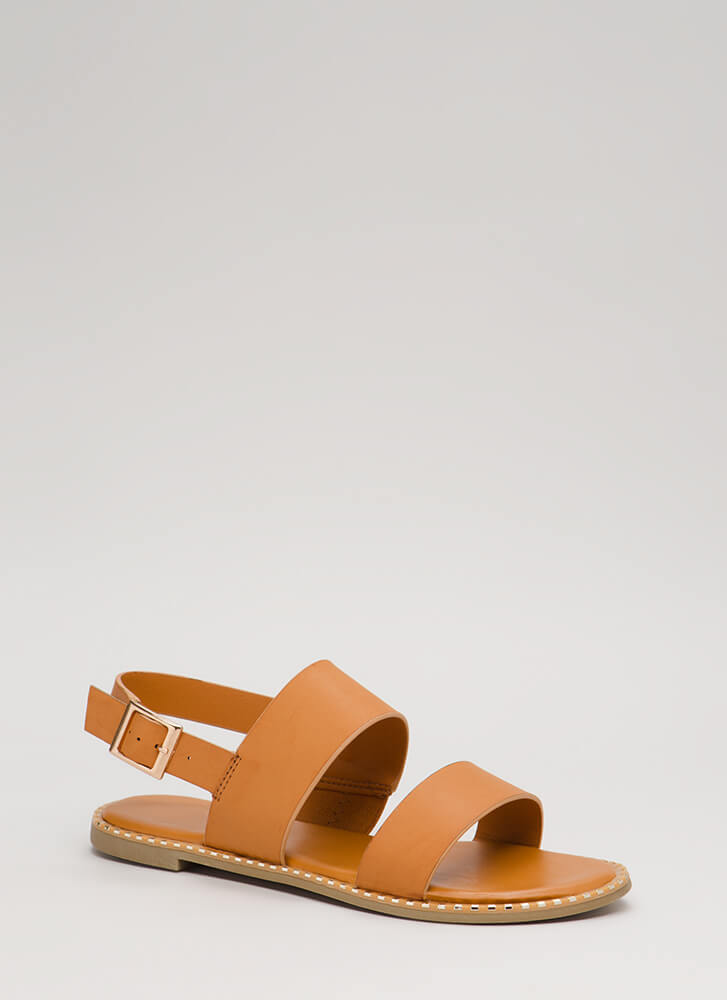 Minimal Aesthetic Metallic Trim Sandals TAN (You Saved $12)