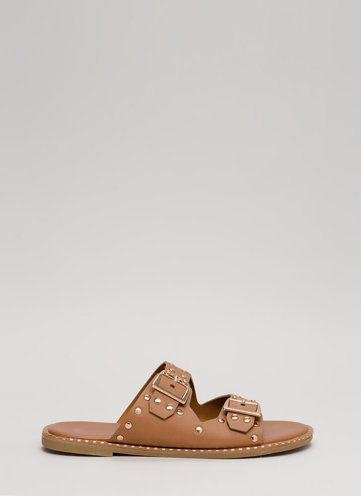 Feeling Edgy Studded Slide Sandals TAN