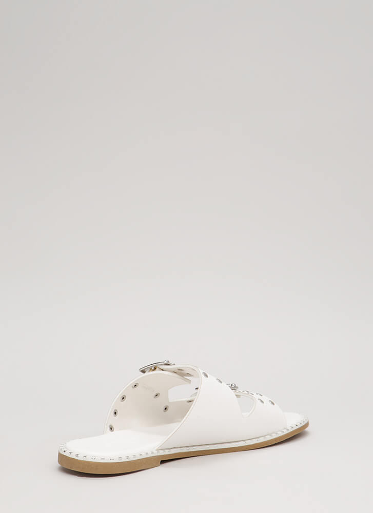 Feeling Edgy Studded Slide Sandals WHITE