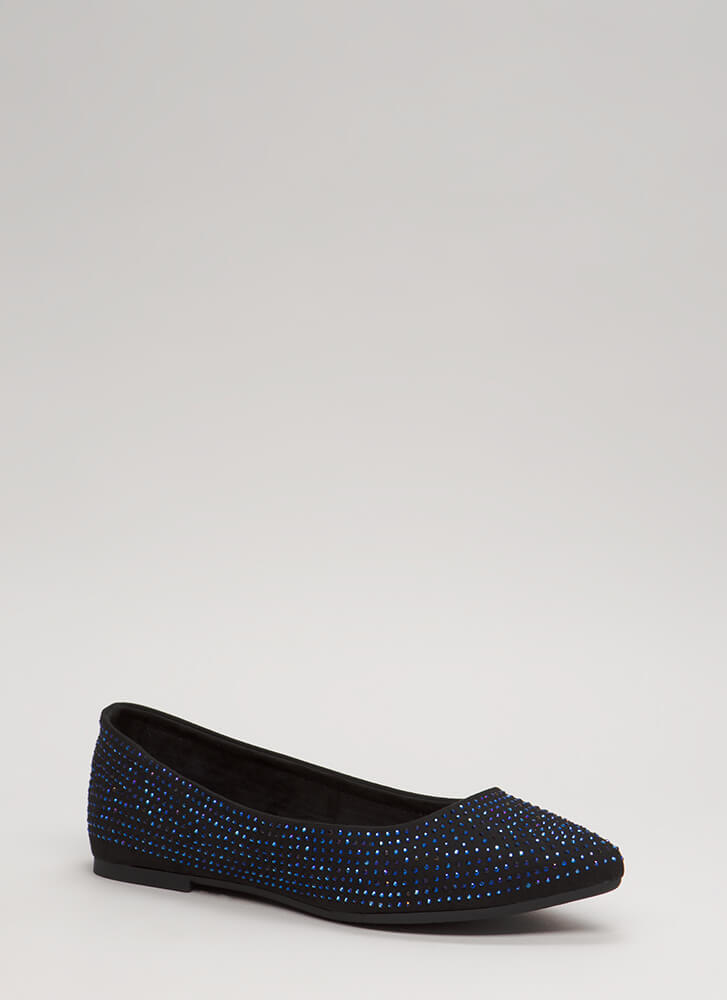 Sparkles Jeweled Faux Suede Flats BLACK