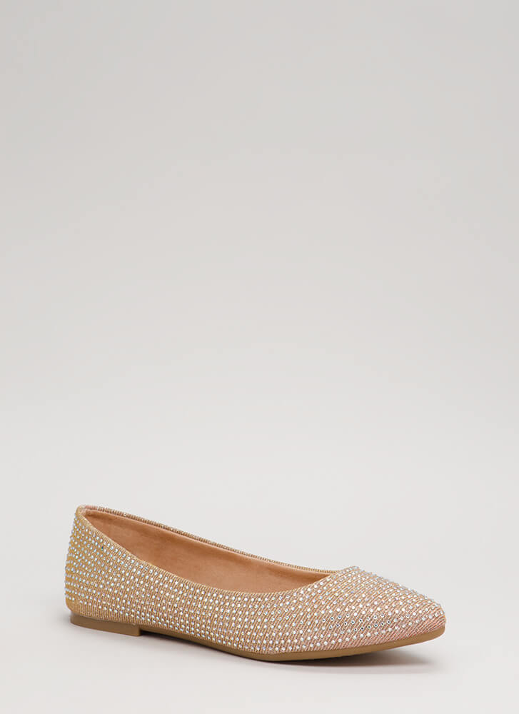 Sparkles Glittery Jeweled Flats ROSEGOLD