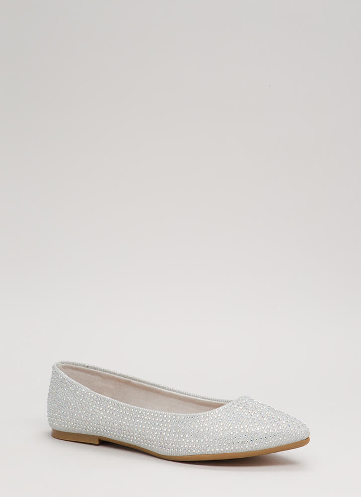 Sparkles Glittery Jeweled Flats SILVER