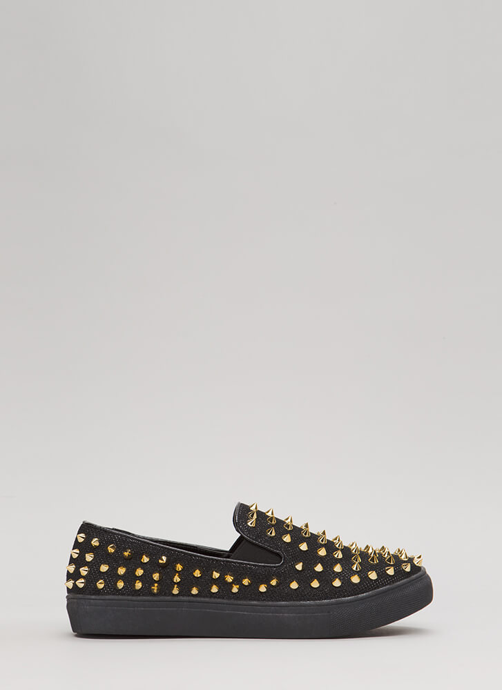 Spike Back Glittery Studded Sneakers BLACK (Final Sale)