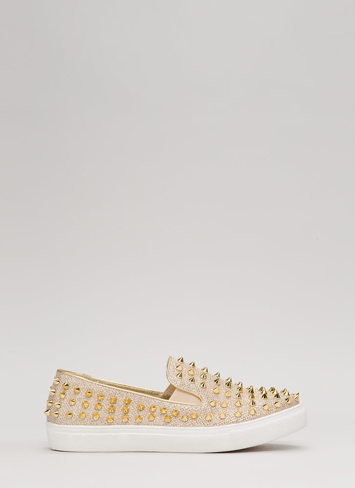 Spike Back Glittery Studded Sneakers GOLD (Final Sale)
