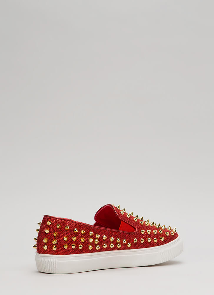 Spike Back Glittery Studded Sneakers RED