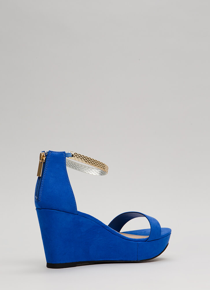 Plated Cool Faux Suede Platform Wedges BLUE