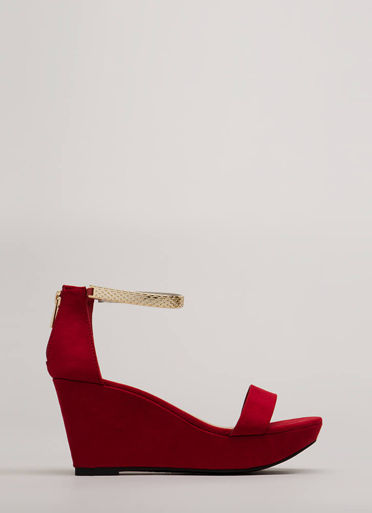 Plated Cool Faux Suede Platform Wedges RED